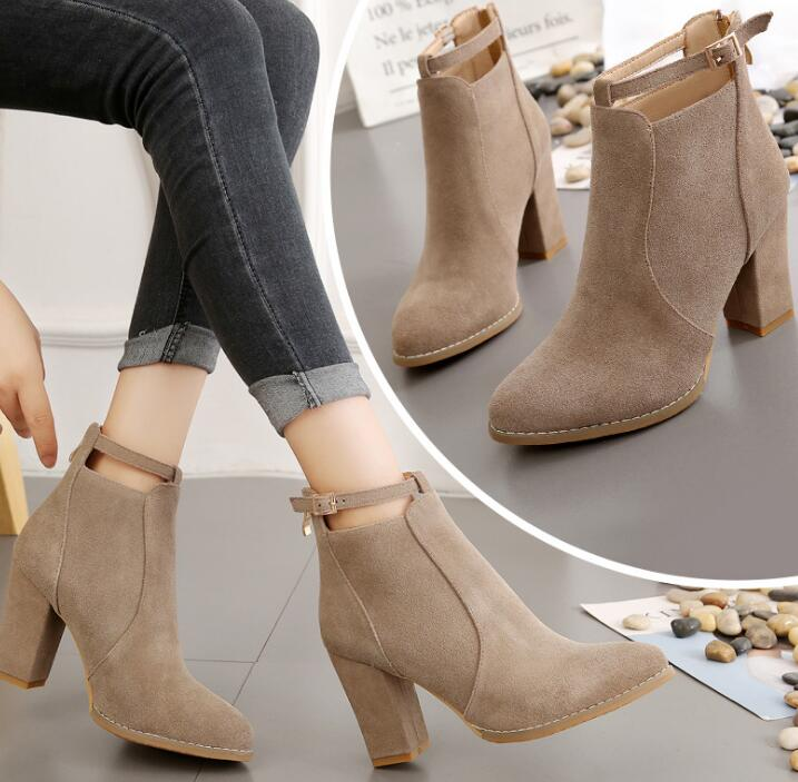 7651383a6 Up-0030j Women Shoes 2019 Autumn Winter High Heel Suede Ankle Boots ...