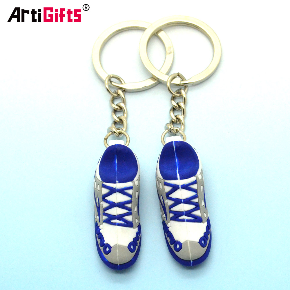 Factory direct sale custom mini basketball shoes soft PVC 3d sneaker keychain
