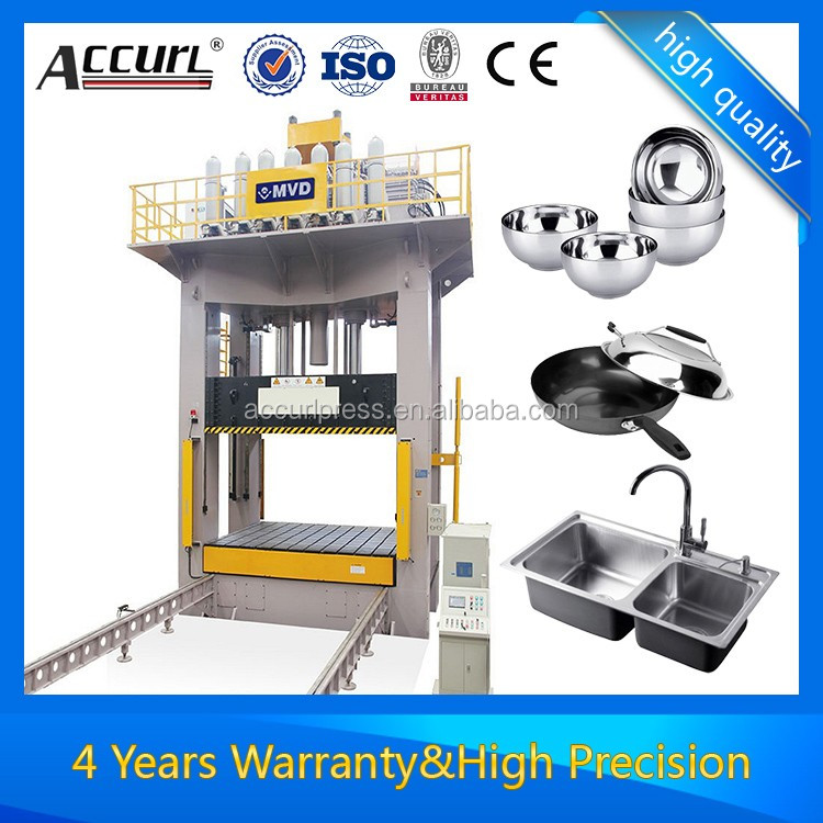Deep drawing hydraulic press for compression molding presses