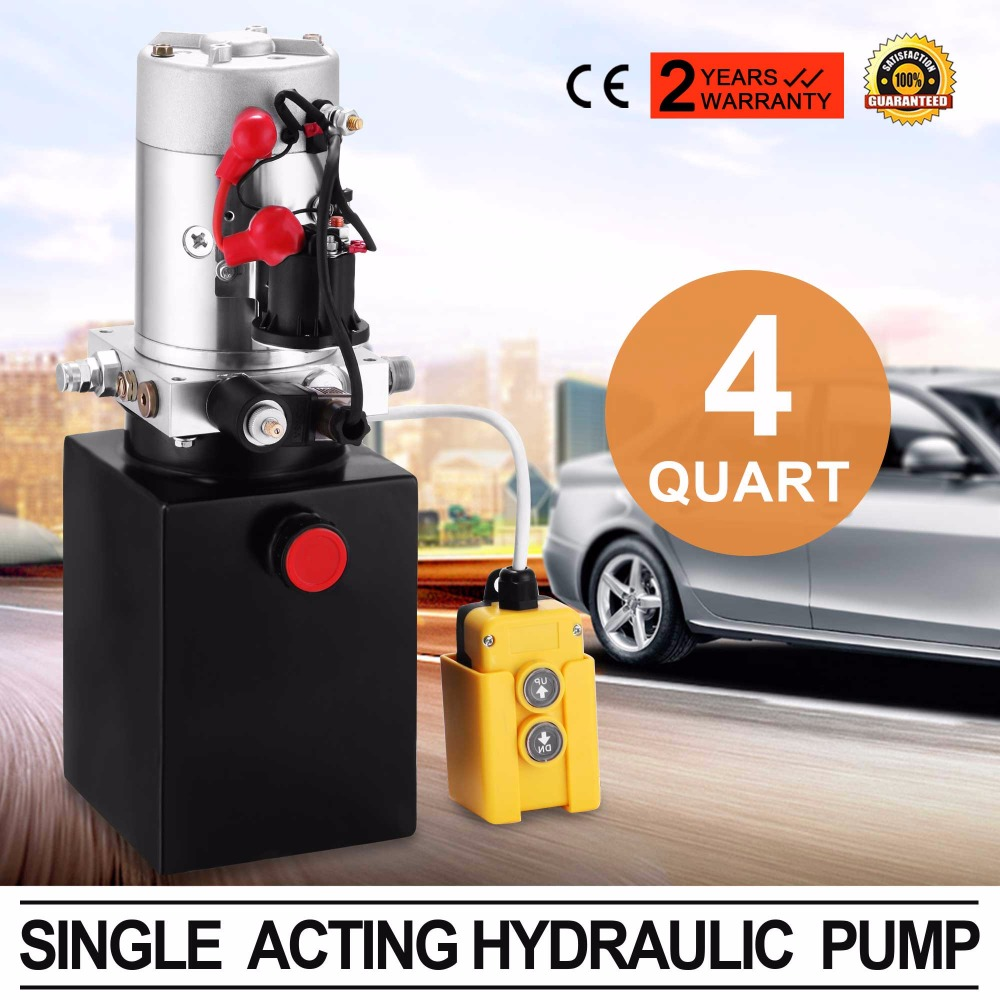 Hydraulic Pump 12V <strong>DC</strong> Single Acting Hydraulic Power Unit 4 Quart Steel Tank Hydraulic Lifting Unit for Dump Trailer Car