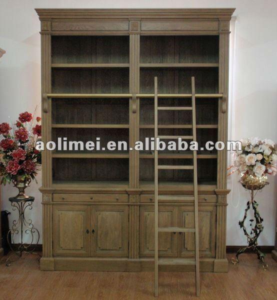 antiken b cherschrank mit leiter holzschrank produkt id 473067797. Black Bedroom Furniture Sets. Home Design Ideas