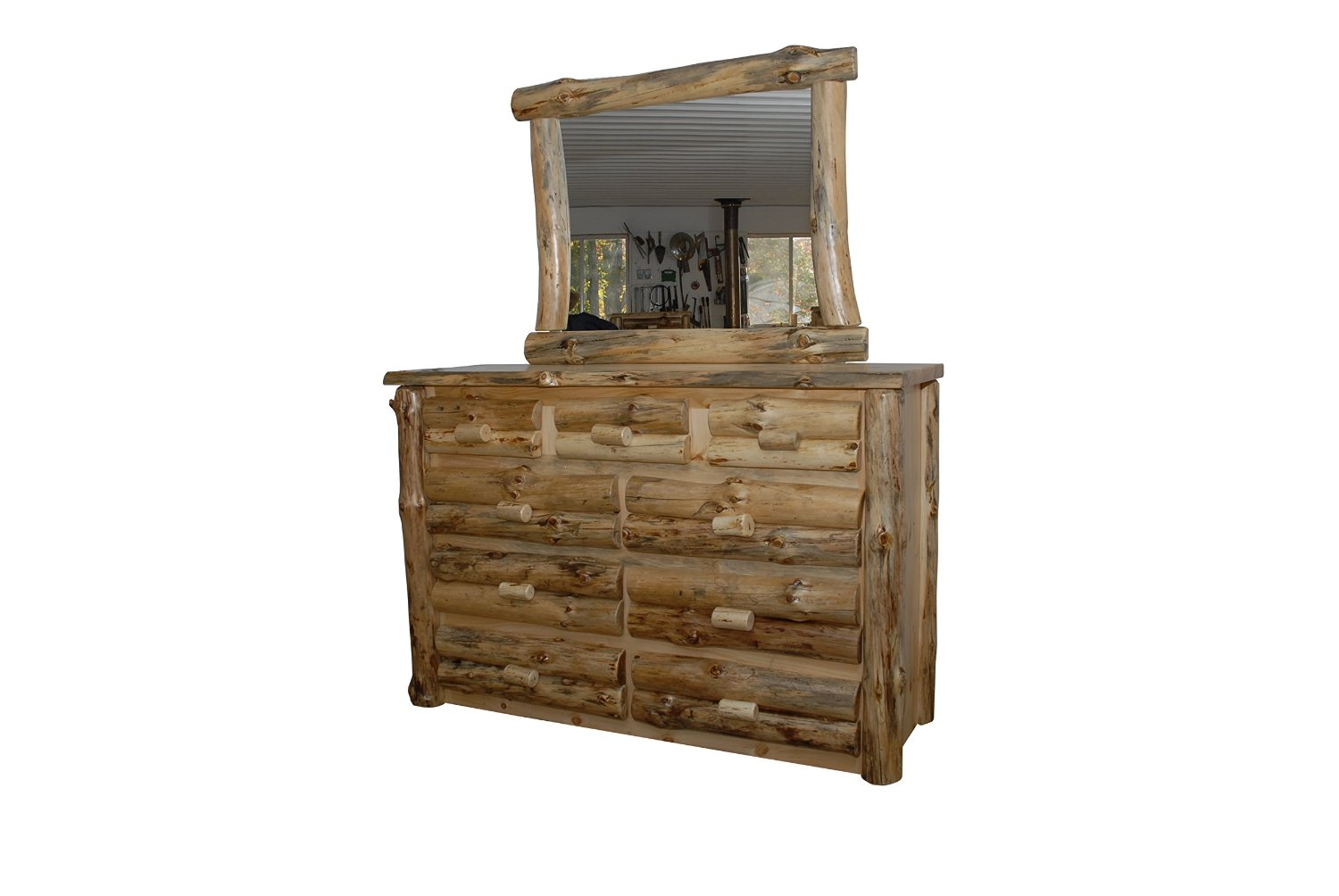 Rustic Pine Half Log Dresser with Mirror FrameAVAILABLE IN 2 SIZES - Amish Made in USA (Clear Varnish, 6 Drawer)