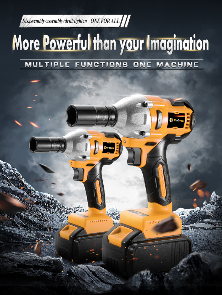 COOFIX CF-IW001 18V 1/2 Cordless Impact Wrench with 3000Ah 4000Ah 6000Ah lithium battery