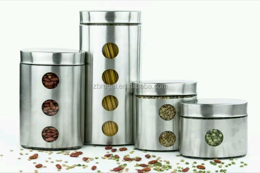 Stainless Steel Kitchen Canister Set Storage Containers Flour Sugar Coffee  Jar - Buy Decorative Mason Jars,Mason Jars With Lids And Straws,Mason Jar  ...