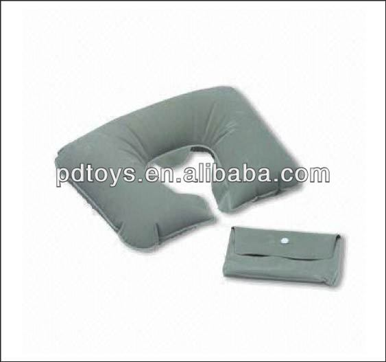 Grey flocked inflatable travel neck pillow with bag, Pillow , Inflatable pillow with bag