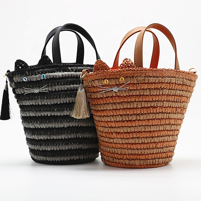 Lovely Cat Rattan Straw Woven Handbag Single-shoulder Summer Beach Bag Dual-use Women's Bags Wholesale