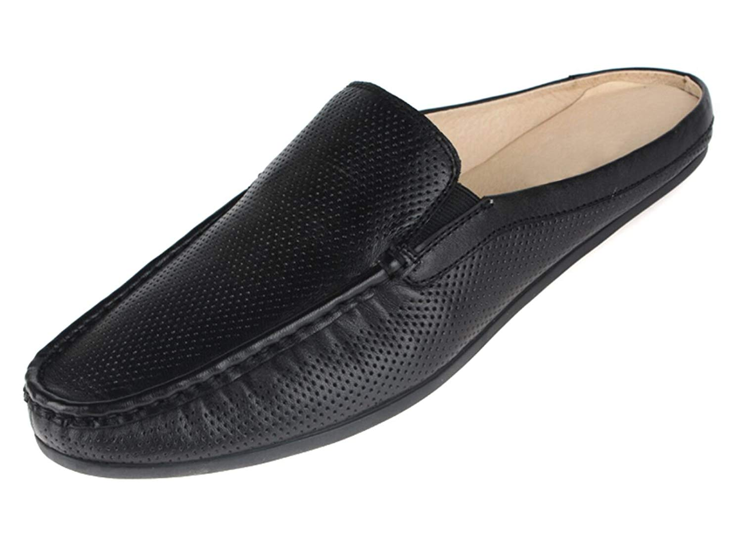 13978db35c0 Get Quotations · Santimon Men Leather Dress Mules Breathable Punching Open  Back Slippers Slip-On Shoes Black White