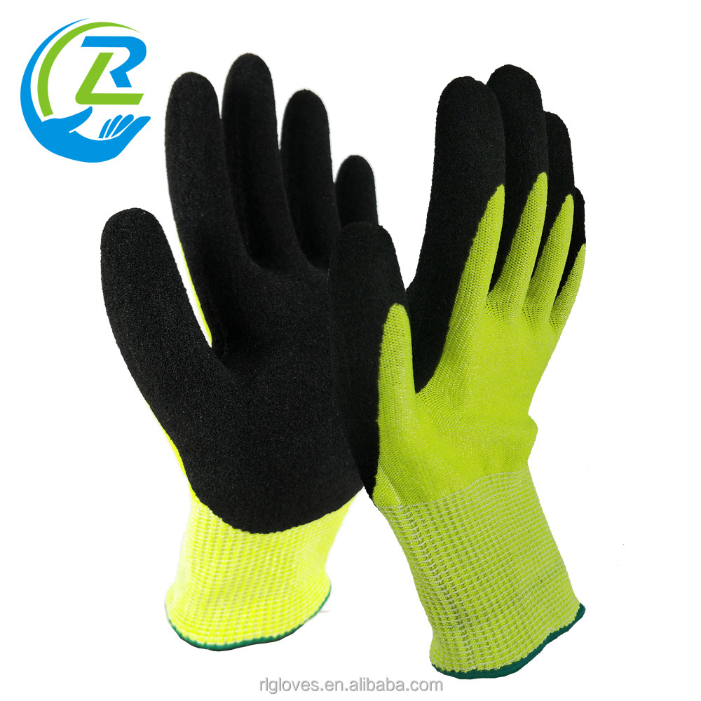 Glassfiber with latex sandy cut resistant thicken shock absorbing gloves