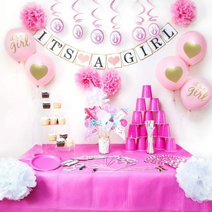 Baby Shower Decorations for girl - Includes matching 'Its A gir' Banner & Balloons, Cute Photo Booth Props, Blue & White Flower