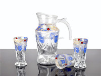 Glass Water Juice Jug Cup Sets With Golden Design