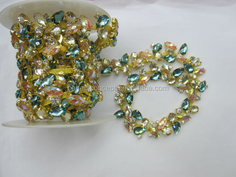 Hot selling colorful stone trimming gold trim