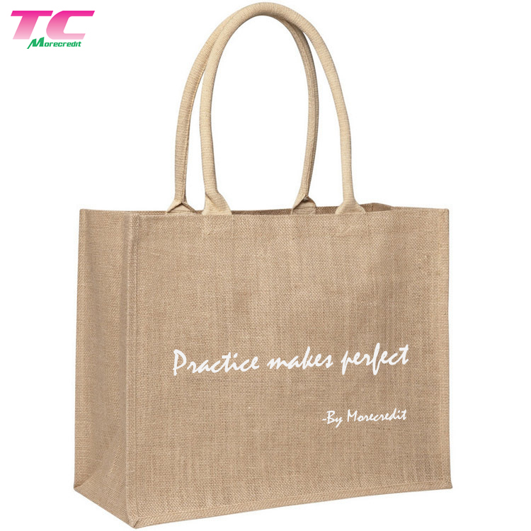 Eco-friendly Large Burlap Tote Bags Soft Cotton Handle Gift Bags for Women