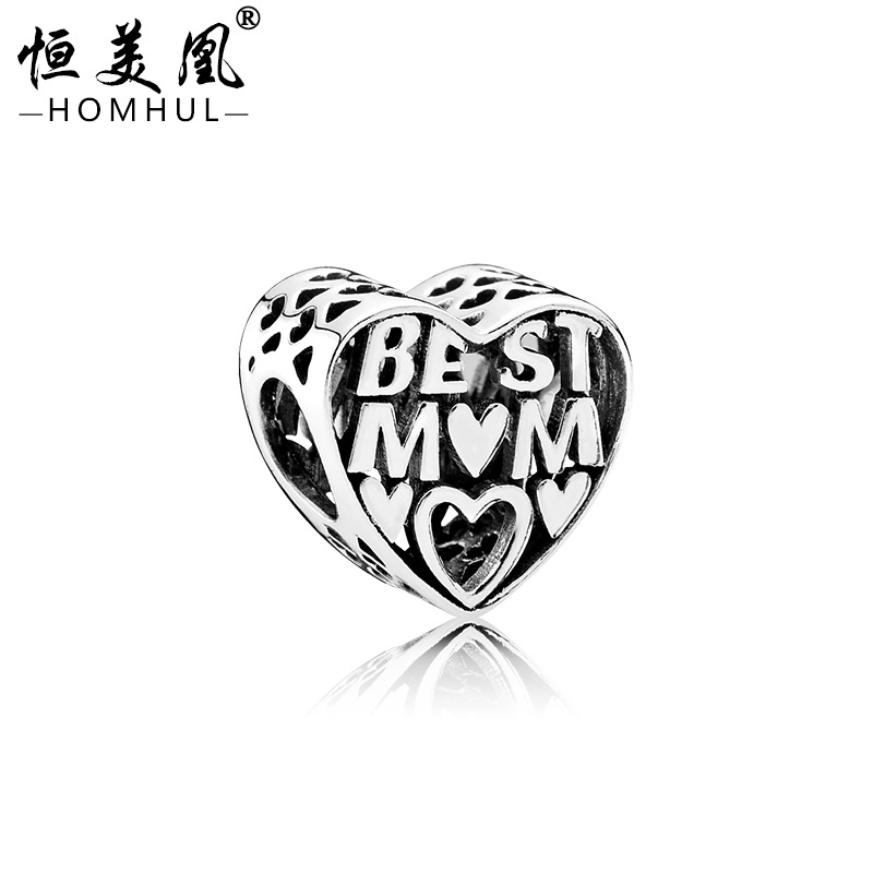 Large hole metal beads heart shaped charm beads for charm bracelet making