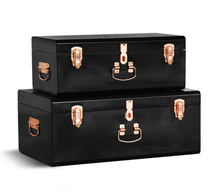 Set 2 Large Bedroom Metal Storage Trunk Locked Trunk Boxes Chest With Rose Gold Accessories