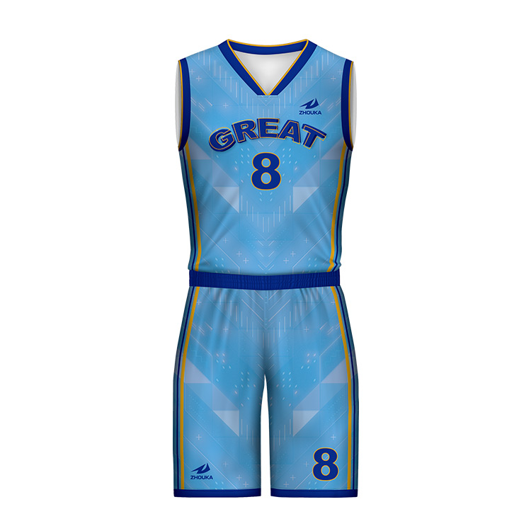 5fdfdaaadf4 ZHOUKA Design Custom Basketball Shirts And Shorts Team Club Basketball  Jerseys Any Size Light Blue Basketball
