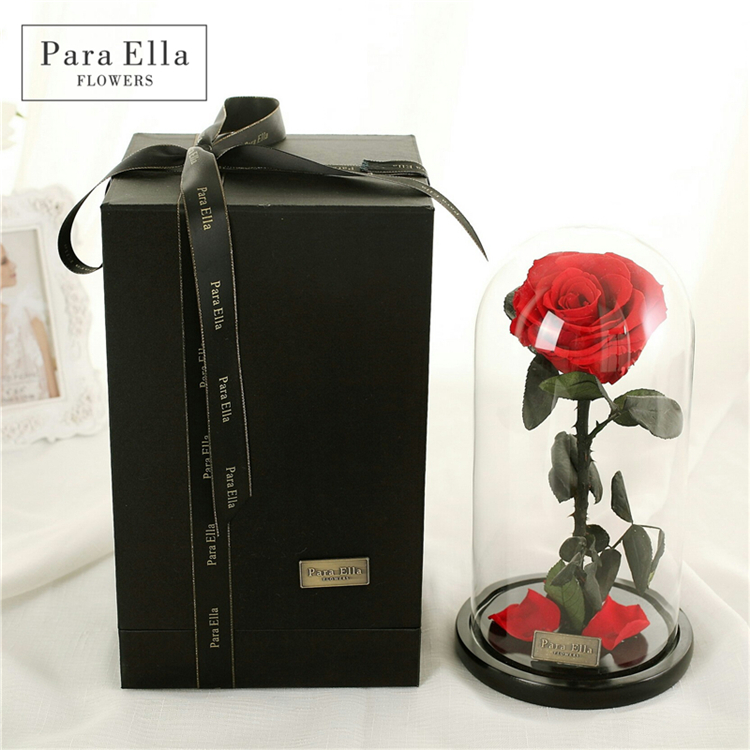 Wholesale Customized Preserved Roses with Glass Dome in Gift Box