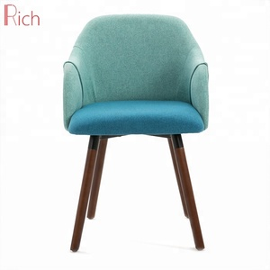 Nordic Style Design Swivel Wooden Chair Blue Linen Fabric Aden Dining Chair