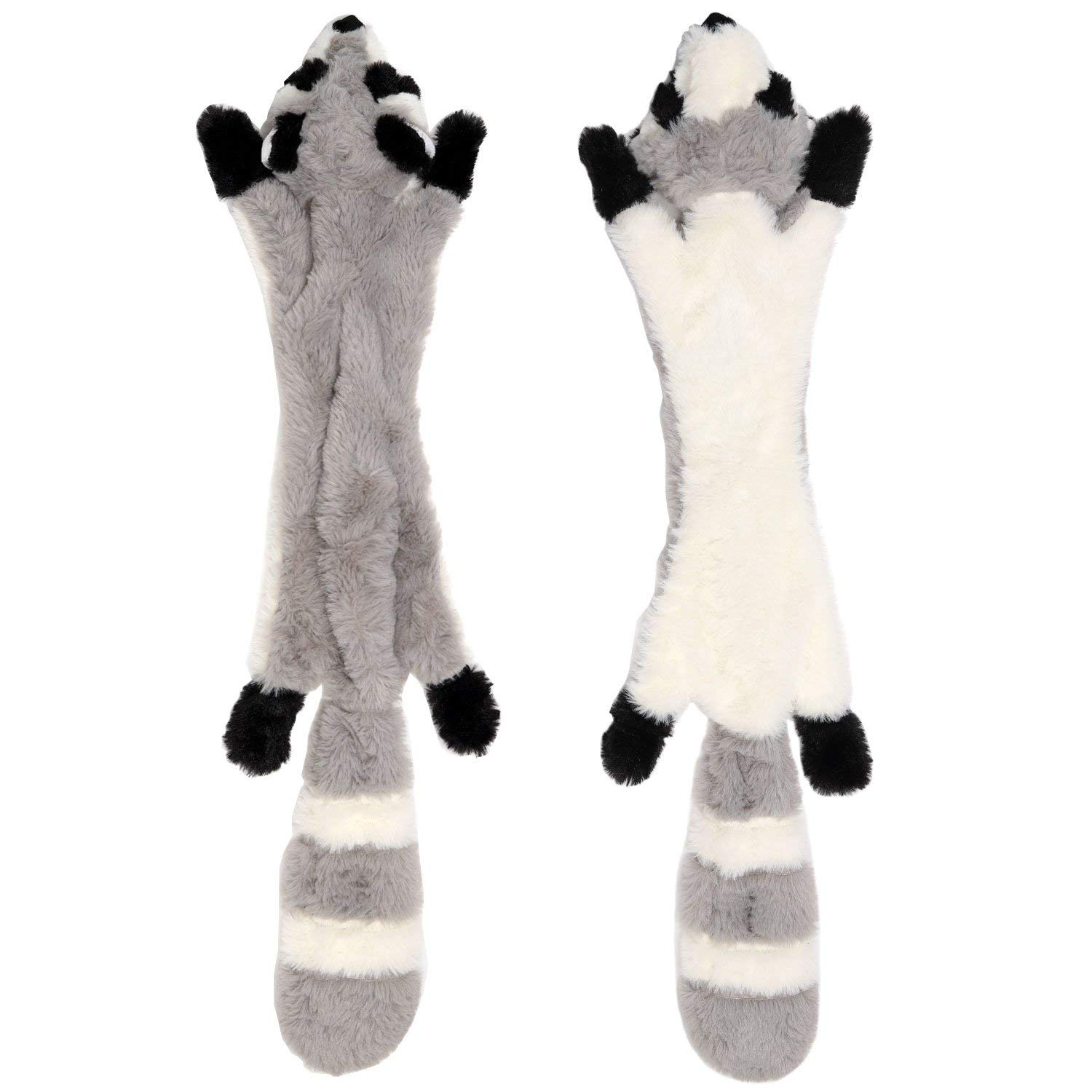Stuffingless Dog Toys with Squeaker, Durable No Stuffing Dog Toys with Squeakers Stuffingless Tough Raccoon Dog Plush Chew Toys for Large Dogs Hunting 24-inch