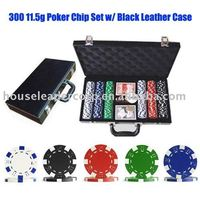 300 Poker Chip Set in Black Leather Case