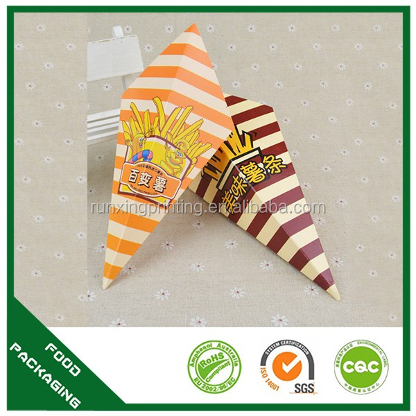 snack packing for french fries, crepe paper cone holder