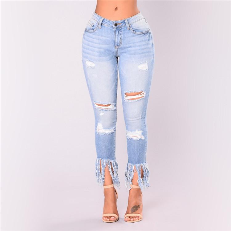 Mode Frauen Hohe Taille Skinny Slim Gestickter Entwurf Jeans Zerrissene Loch Hosen GroßE Auswahl; Jeans Frauen Kleidung & Zubehör