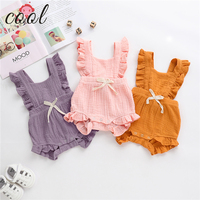 2019 New arrival summer baby clothes cute 100%cotton knitted infant jumpsuit pink baby girl romper