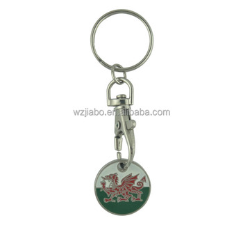 custom metal front dragon back shopping cart coin trolley token