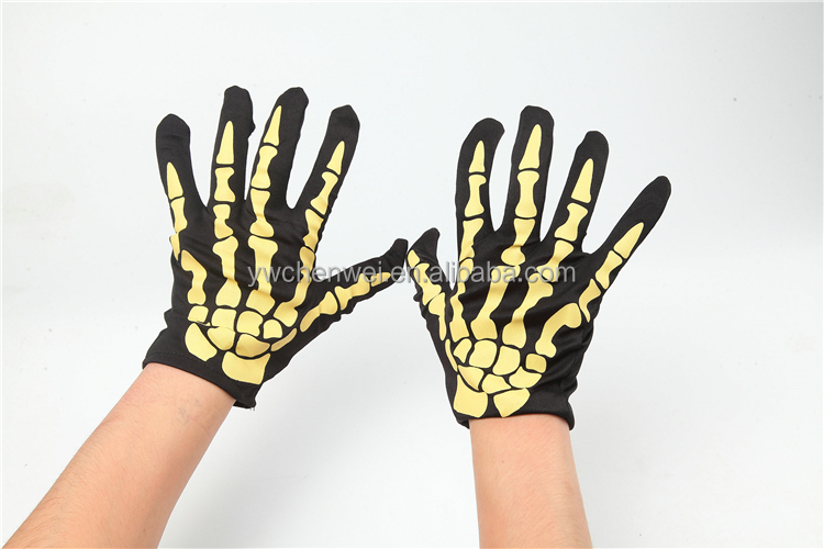 Halloween Decorations Party Role Cosplay gloves with yellow bone print