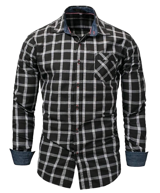 XQS Mens Embroidered Dragon Design Western Shirt Long Sleeve Button Down Shirt