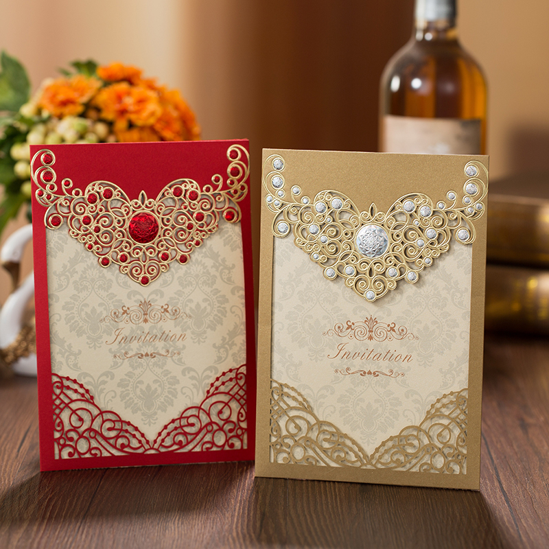 Red Gold Laser Cut Crown Flora Wedding Invitations Card Greeting