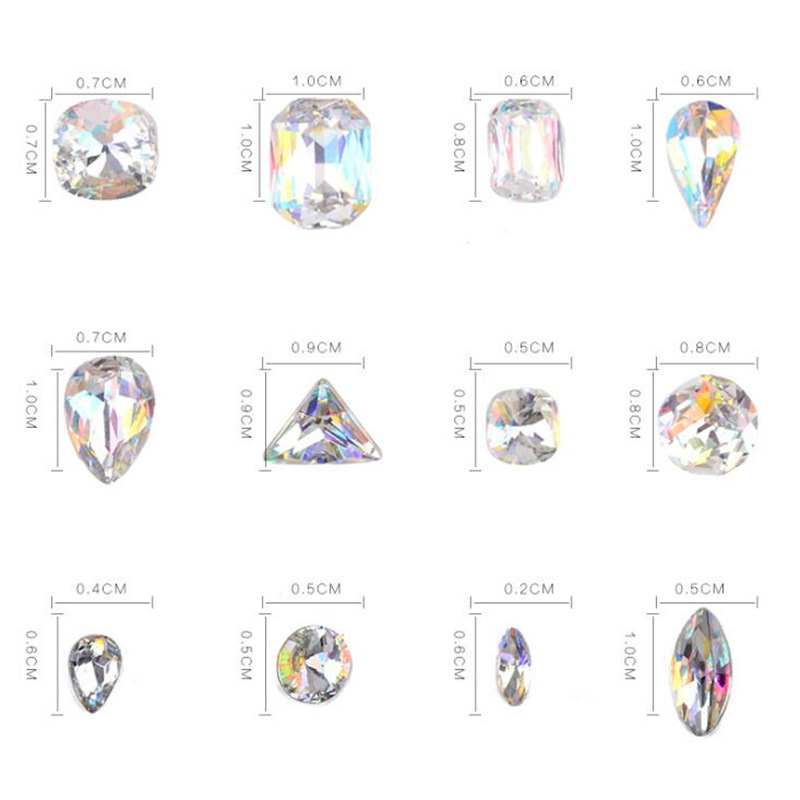 Nail Art Rhinestones Design Personalised Diamond Shapes Glass AB Colorful Stones For 3D Nails Art Decoration