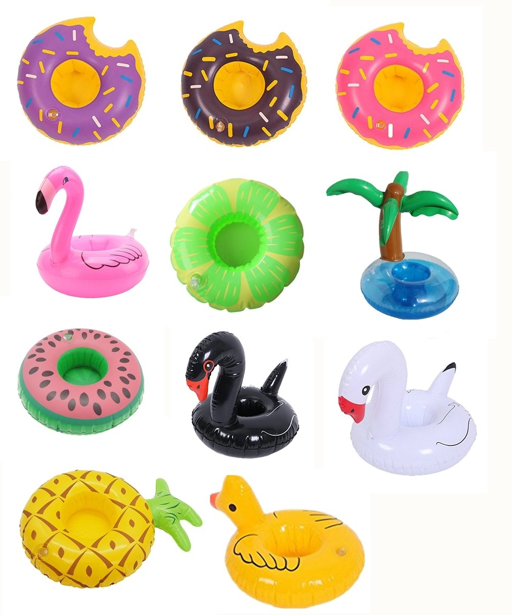 12 Pack Inflatable Drink Holder Unicorn Float,Fruit Donuts Flamingo Swan Plam Duck Inflatable Pool Cup Holders Coasters for Pool Party Water Fun