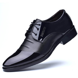 2018 new Latest Classic Pure Black Men genuine Leather Dress Shoes for Men