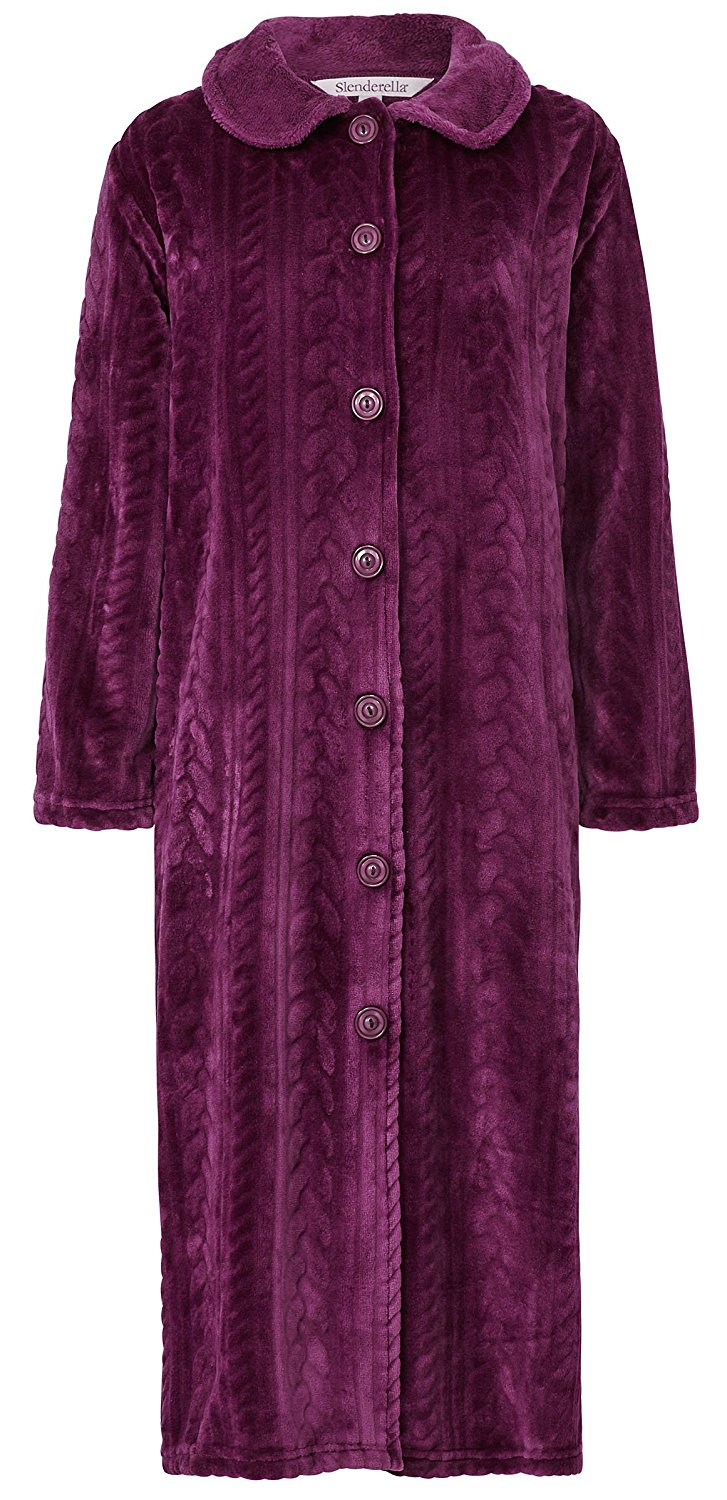 Get Quotations · Slenderella Ladies Luxury Thick Fleece Collared Button  Bath Robe Dressing Gown fc54756d6
