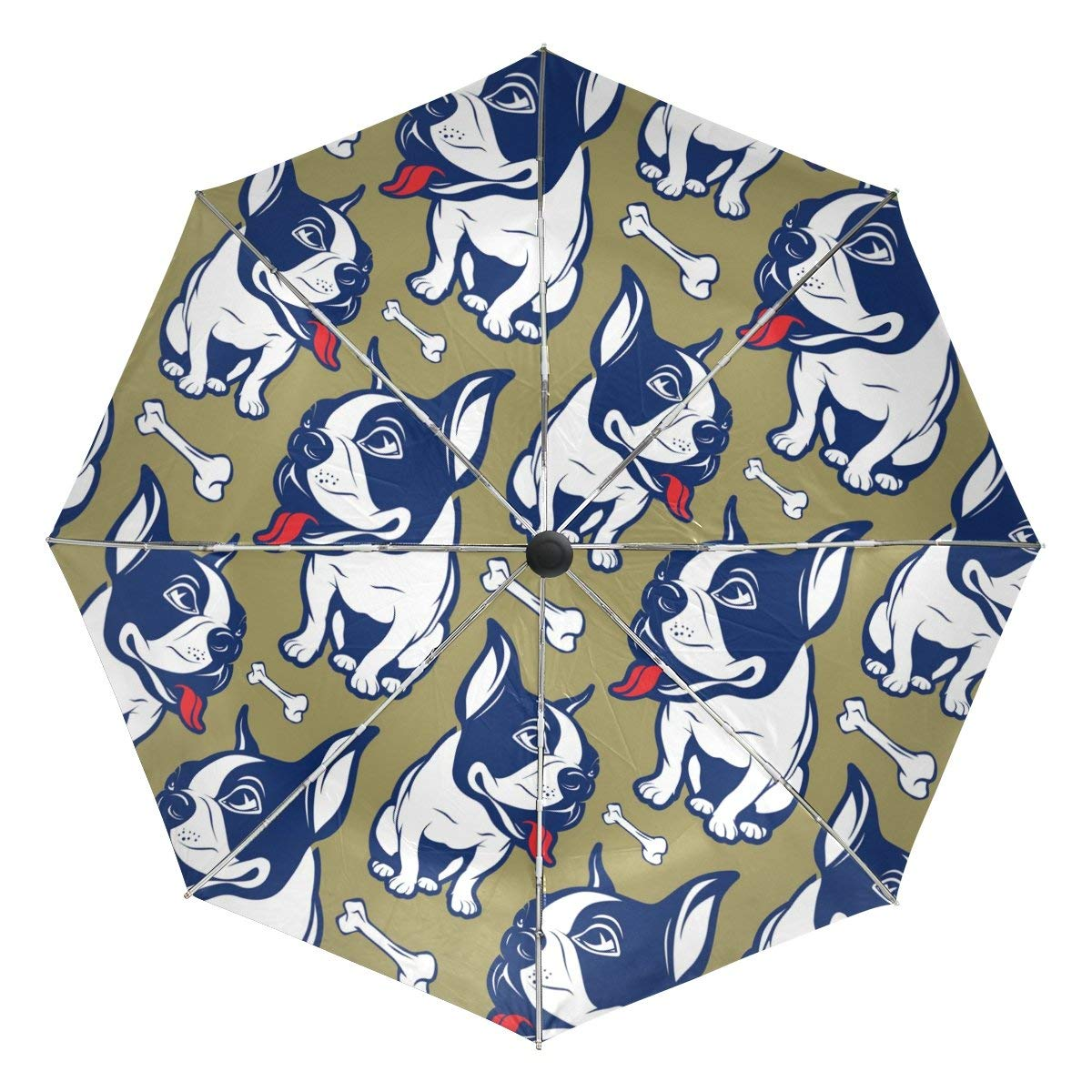 MAPOLO Cute Pug Dog Puppy Snout Eyes Print Windproof Rain Travel Canopy 3 Folds Auto Open Close Button Umbrella