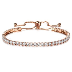Wholesale Fashion Crystal CZ Tennis Parts Adjustable Link Colored Bracelet Women
