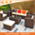 New Design 6pcs black color with cushion outdoor Sofa set garden furniture pe rattan table