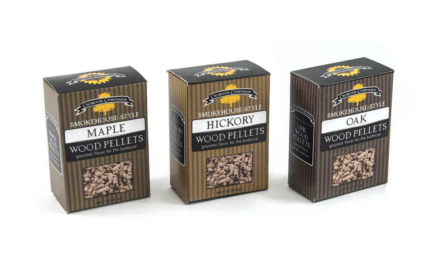 Charcoal Companion Smokehouse-Style Wood Pellets Set (Hickory/Maple/Oak) - CC6051