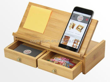 Adjustable Pad Stand 100% bamboo phone holder Desk OrganiserTidy Stationery storage Box with drawer & Adjustable Pad Stand 100% Bamboo Phone Holder Desk Organisertidy ...