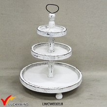Shabby chic <span class=keywords><strong>voedsel</strong></span> serveren 3 tier ronde plaat stand
