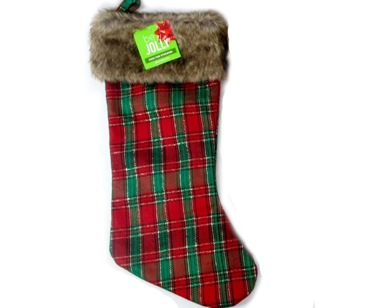 Be Jolly Plaid Faux-fur Stocking 16 Inch