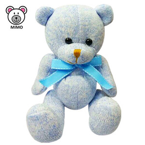 Handmade Cartoon Kids Stuffed Animal Baby Teddy Bear Toy Fashion New OEM Custom Knitting Plush Toy Soft Blue Teddy Bear