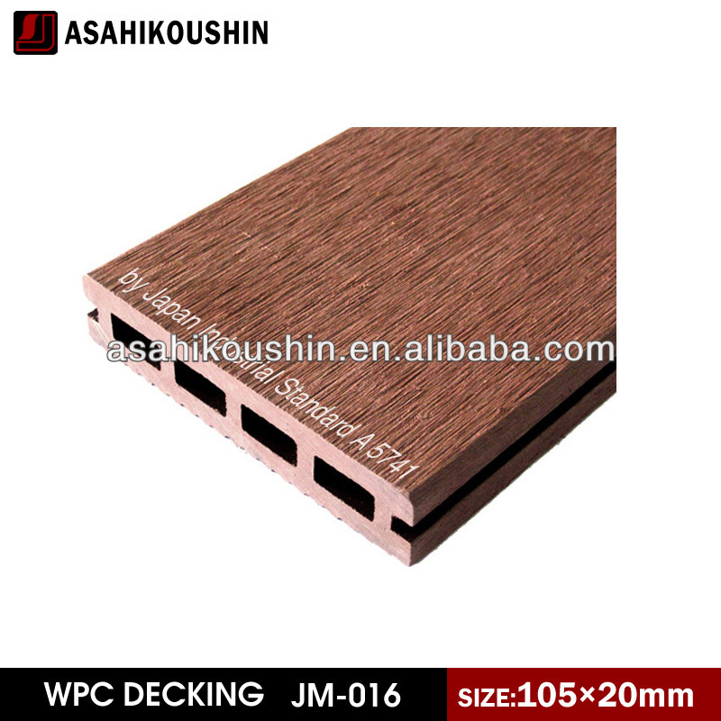 Wholly timber feeing JIS A 5741 stain resistance sanding surface WPC Hollow Decking