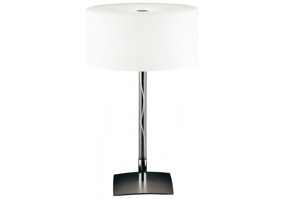 9.15-6 transparent borosilicate glass shiny steel base white frosted blown glass Drum Table Lamp