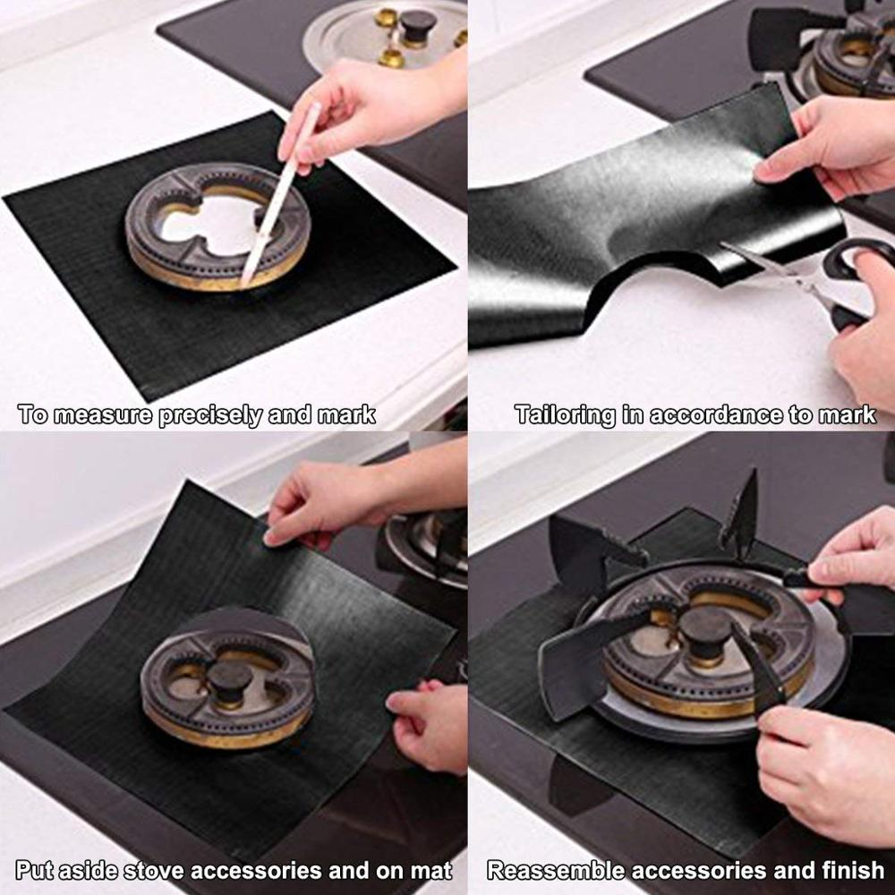 Reusable Dishwasher Safe Non-Stick Gas Range Protector Thick Stove Burner Covers Protector