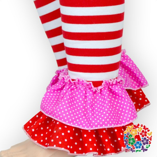 2016 New Fashion Valentine Day Baby Clothing Long Sleeve Ruffle Children Clothes With Striped Red Pants Set