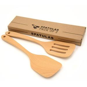 Bamboo Wooden Kitchen Burnished Spatula Wood Turners and Cooking Utensil