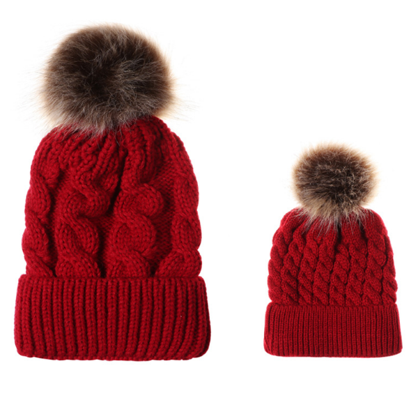 New Brand Winter Kids/mom Raccoon <strong>Fur</strong> pom acrylic knitted hats