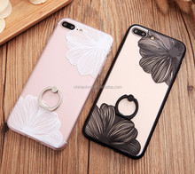 2017 New Luxury Flower case For iphone 7plus Lace Metal Ring Holder Stand Phone Cases For iPhone 6 6s 6plus Black Case Cover
