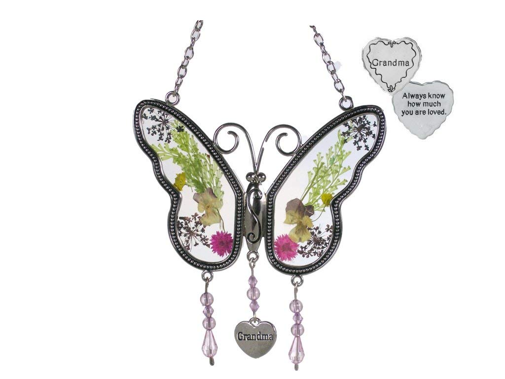 BANBERRY DESIGNS Grandma Suncatcher and Pocket Token - Dried Flowers Butterfly Sun Catcher with a Grandma Charm and a Grandmother Heart Pocket Token - Always Know How Much You are Loved